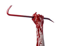 Bloody hands with a crowbar, hand hook, halloween theme, killer zombies, white background, isolated, bloody crowbar Royalty Free Stock Photography