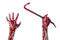 Bloody hands with a crowbar, hand hook, halloween theme, killer zombies, white background, isolated, bloody crowbar Stock Image
