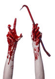 Bloody hands with a crowbar, hand hook, halloween theme, killer zombies, white background, isolated, bloody crowbar Stock Images