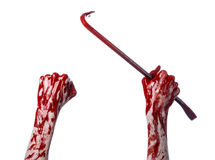 Bloody hands with a crowbar, hand hook, halloween theme, killer zombies, white background, isolated, bloody crowbar Stock Photo