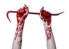 Bloody hands with a crowbar, hand hook, halloween theme, killer zombies, white background, isolated, bloody crowbar Stock Photography