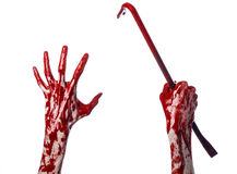 Bloody hands with a crowbar, hand hook, halloween theme, killer zombies, white background, isolated, bloody crowbar. Studio Royalty Free Stock Photo