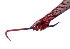 Bloody hands with a crowbar, hand hook, halloween theme, killer zombies, white background, isolated, bloody crowbar Royalty Free Stock Image