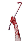 Bloody hands with a crowbar, hand hook, halloween theme, killer zombies, white background, isolated, bloody crowbar Royalty Free Stock Photos