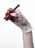 Bloody hands in gloves with the scalpel, white background, isolated, doctor, killer, maniac. Studio Stock Photography