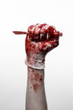 Bloody hands in gloves with the scalpel, white background, isolated, doctor, killer, maniac. Studio Stock Images