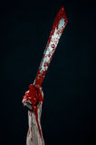 Bloody hands with a machete zombie demon maniac knife Stock Photo