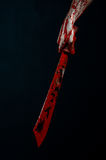 Bloody hands with a machete zombie demon maniac knife Stock Images
