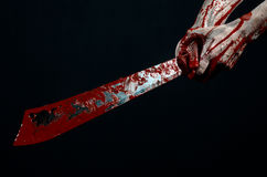 Bloody hands with a machete zombie demon maniac knife Stock Photography