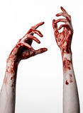 Bloody hands on a white background, zombie, demon, maniac, isolated Stock Images