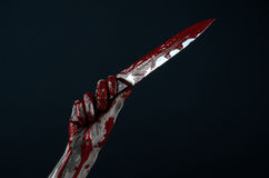 Bloody hands zombie demon knife Royalty Free Stock Image