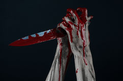 Bloody hands zombie demon knife Stock Photography