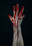 Bloody hands zombie demon. Studio Royalty Free Stock Photography