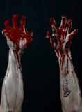 Bloody hands zombie demon Stock Images