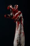 Bloody hands zombie demon. Studio Stock Photo