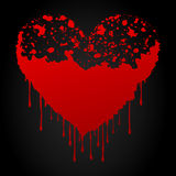 Bloody heart. Bloody red heart on a black background. A  illustration Royalty Free Stock Photography