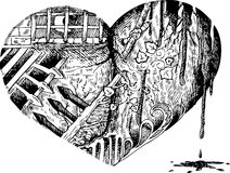 Bloody heart sketched doodle. Sad, broken, bloody heart. Black and white sketched vector Stock Photography