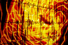 Bloody Heartbeats. An abstract background of a heartbeat waveform on a bloody distorted design Royalty Free Stock Photos