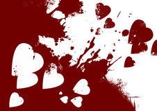 Bloody hearts abstract background. Bloody hearts red and white abstract background Stock Image