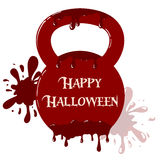 Bloody kettlebell with happy Halloween text. Vector bloody kettlebell with dripping blood. Symbol with blots in background. Template with happy Halloween text Stock Image
