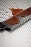 Bloody Kitchen Knife. A bloody kitchen knife on a steel background stock images