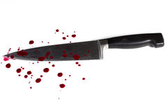 Bloody knife. Knife on white background with blood Royalty Free Stock Photo