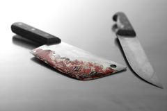 Bloody knife. An assassin killing weapon, the bloody knife royalty free stock images