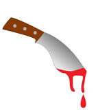 Bloody knife from the crime scene. Royalty Free Stock Images