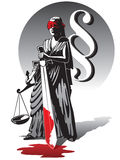 Bloody Lady Justice. Blind Lady Justice holding scale and sword Stock Image