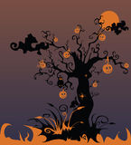 Bloody landscape with a terrifying tree and pumpki. Illustration, bloody landscape with a terrifying tree and pumpkins Stock Images