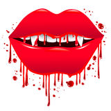 Bloody Lips. Bloody red lips vampire with big fangs Royalty Free Stock Photos