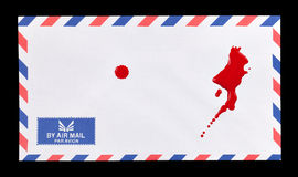Bloody Mail. A white air mail envelope with a some blood stains on it Royalty Free Stock Photography
