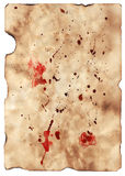 Bloody manuscript. Ancient sheet of a paper. On a sheet of a drop of blood and a dirt. The image is especially convenient for the further on it imposings of the Stock Images