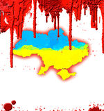 Bloody map of ukraine. Ukrainian  map with blood, Revolution in Ukraine Stock Image