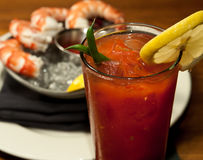 Bloody Marry. A Bloody Marry with a shrimp cocktail, shot at a French restaurant Royalty Free Stock Photography