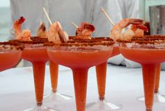 Bloody Martini. With shrimp Stock Image