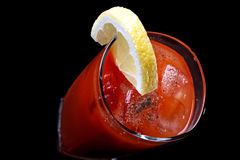 Bloody Maru Cocktail. Bloody Mary Cocktail on black background. Long drink to serve at any time royalty free stock image