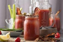 Bloody mary affumicato del bacon del pepe immagine stock