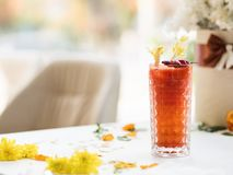 Bloody mary alcoholic beverage against hangover. Concept. morning after party. floral decoration Royalty Free Stock Image