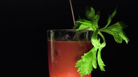Bloody Mary with celery leaves. Closeup with black background,Turning stirrer stick stock video footage
