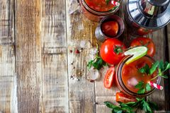 Bloody Mary cocktail. Alcoholic drink and ingredients royalty free stock images
