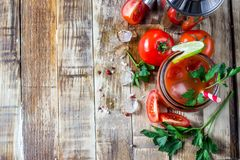 Bloody Mary cocktail. Alcoholic drink and ingredients. On wooden table. Copy space. Selective focus stock images