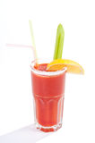 Bloody Mary cocktail with edging of salt and garnished. Stock Images