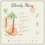 Bloody Mary. Cocktail infographic set. Vector illustration. Colorful watercolor background Royalty Free Stock Photos