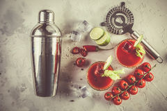 Bloody mary cocktail and ingredients Stock Image