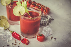 Bloody mary cocktail and ingredients Stock Images