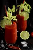 Bloody mary cocktail and ingredients: peper chili, lime, celery, ice and shaker. copy space. ÑŽ stock photo