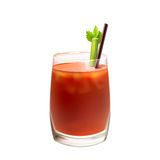 Bloody mary cocktail realistic. Bloody mary realistic cocktail in glass with celery stick and drinking straw isolated on white background vector illustration Royalty Free Stock Photos