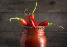 Bloody Mary Cocktail With Red Jalapeno Peppers Stock Photo