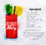 Bloody mary cocktails watercolor. Bloody mary cocktails drawn watercolor blots and stains with a spray, including recipes and ingredients on the background of Stock Photography